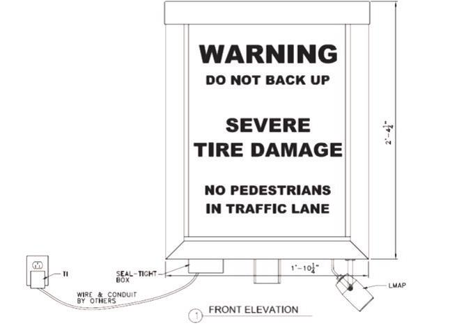 Guardian Traffic Spikes Lighted Warning Sign Drawing