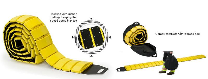 portable single lane speed bump with zippered carryingstorage bag 10 length in yellow 45000 - Rubber Speed Bumps