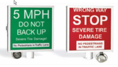Traffic Spike Warning Signs, 2 sided Lighted